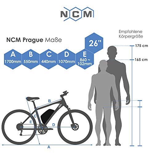 NCM Prague, E-Bike Mountainbike 36V 13Ah 468Wh, 26