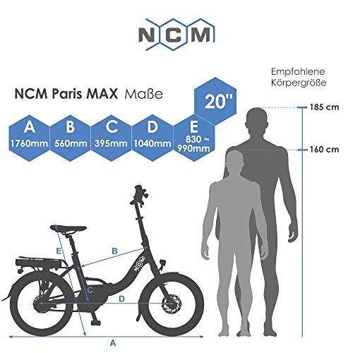 """NCM Paris MAX N8R / N8C E-Bike, E-Faltrad, 250W, 36V 14Ah 504Wh Akku, 20"""" Zoll (Weiß mit Rücktrittbremse (N8C) - 3"""