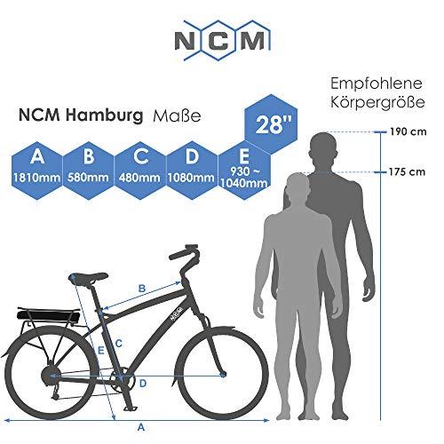"NCM Hamburg E-Bike City Rad, 250W, 36V 13Ah 468Wh Akku, 28"" Zoll (28″ Schwarz) - 7"